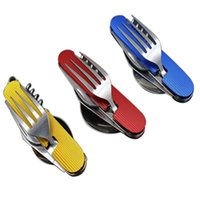 Wholesale Multifunctional Tableware - camping knives Multifunctional Foldable Tableware Removable Combination Outdoor Tools foldable fork and spoon Swiss Army Fruit Knife