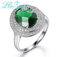 anillos de piedra ovales de plata verde al por mayor-Lzuan 925 Plata Esterlina 4.1ct Creado Anillo Esmeralda para Mujer Oval Verde Piedra Nupcial Anillos de Boda Hoja Joyería Fina