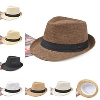 Wholesale solid straw fedora hat for sale - 7 Colors Fashion Unisex Hat Men Women Summer Sun Beach Grass Braid Fedora Trilby Wide Brim Straw Cap Panama NNA320