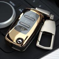 volkswagen passat anahtar kapağı toptan satış-Vw Volkswagen Tiguan Passat Polo ABS Araba Anahtarı Kabuk Durumda Kapak Anahtarlık Anahtarlık Anahtarlık Zinciri ile Toka Anahtarlık