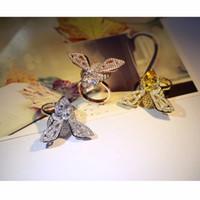 14k gold ring gelben stein großhandel-100% authentische 925 Sterling Silber Echt Weiß / Gold / Rose Gold Bee Ringe mit Weiß Gelb CZ Stein für Frauen Schmuck Hochzeit Ring
