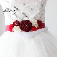 ingrosso bordo da sposa borgogna-Cintura bordeaux Beach Flower Sash per matrimonio nuziale con fascia fiore strass Cintura maternità