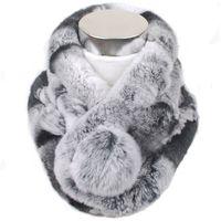 echte pelzkragen schals großhandel-Valpeak-Kaninchen-Pelz-Schal für Frauen-Winter-2018 Marke Luxus-gestrickter weiblicher echter Pelz-Schal Rex-Kragen-warme Ansatz-Farben-Pompons Y18102010