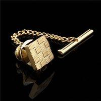 metal destek sırtları toptan satış-HAWSON Klasik Metal Debriyaj Pimi Yedekler Kravat Pin Altın Kare Kravat Tack Zinciri Ücretsiz Kargo ile