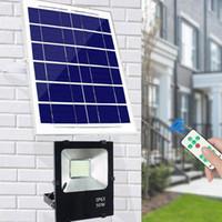 ingrosso proiettori alimentati a energia solare-Sensore del proiettore solare 100W 50W 30W 20W 85LM W Batteria di carica del pannello di celle esterne Lampade industriali impermeabili PIR Motion Induction