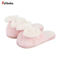 Wholesale Comfortable Flip Flops For Women - Winter lovers bow warm slippers for women Couples shoes comfortable flat slippers