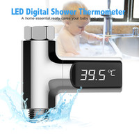 Wholesale digital water flow - LED Display Home Water Shower Thermometer Flow Self-Generating Electricity Water Temperture Meter Monitor For Baby Care