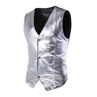 ingrosso giubbotto in argento mens-CH.KWOK Mens Night Club Slim Metallic Silver Suit Vest Casual Slim Fit Tuxedo Costume Gilet Stage Matrimonio senza maniche Causale Vita