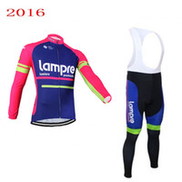Wholesale lampre team clothes for sale - 2016 pro team lampre merida cycling jersey spring autumn Ropa Ciclismo long sleeve racing bike clothing MTB Bicycle maillot gel