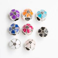 Wholesale 10mm Enamel flower Ball Silver Plated Alloy Big Hole Charms Spacer Beads fit charm bracelet Fit European Bracelets