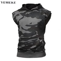 Wholesale hooded singlets - Bodybuilding Stringer Tank Top with Hooded Mens Gyms Clothing Fitness Mens Sleeveless Vests Cotton Singlets Muscle Tankops