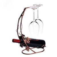 soportes de metal antiguos al por mayor-Antiguo Metal Botella de Vino Champán Titular de Almacenamiento Rack Bar Stand Soporte Soporte de Exhibición Decoración Del Hogar