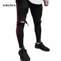vaqueros hiphop de salto al por mayor-2018 Black Men Jeans Hiphop cremallera Stretch rodilla rasgada Biker Jeans agujero hip hop Elasticidad Skinny Denim pantalones Vintage Jeans