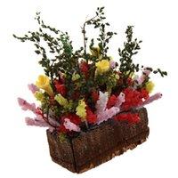 ingrosso vasi da fiori in legno-Migliore vendita 1/12 casa delle bambole in miniatura multicolor fiore Bush con pentola di legno (colore: multicolor)