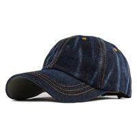 Wholesale washed denim caps - Leisure Cowboy Washed Cotton Adjustable Solid color Baseball Cap Unisex Denim Hip Hop cap Casual Hat Snapback F130