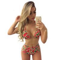 ingrosso nastro di stampa dell'anguria-Europa US Newest Trend colorato anguria rosso Sexy Bikini stampa geometrica Due pezzi costume da bagno Nobile signora a vita alta Cinture a nastro
