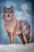 Wholesale digital art designs resale online - wolf moon Artwork Unframed Wall Art Animal Oil Painting on Canvas the Colored Fashion Design High Quality