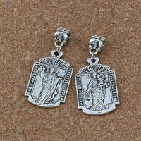 alten charme perlen großhandel-50pcs / lot baumeln altes Silber O MI Jesus Misericordia Medaillen-Religions-Charme-großes Loch-Korn-passende europäische Charme-Armband-Schmucksachen 18.5x43.5mm