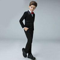drei stück jungen kleid anzüge großhandel-Neue heiße junge Herr Schal Schal Kragen Anzug dreiteiligen Anzug (Jacke + Hose + Weste) Kinder Abschlussfeier formelle Kleidung Unterstützung Gewohnheit