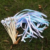 düğün değnekleri sopa toptan satış-50 adet / lotLight mor ve açık mavi Leke Kurdele Düğün Değneklerini Şerit Değneklerini Düğün Şerit Düğün Parti Için Sopa