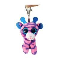 ingrosso bambola rosa giraffa-TY Beanie Boos GILBERT giraffa rosa clip portachiavi peluche farcito animale bambola giocattolo senza etichetta