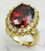 Wholesale yellow gold filled ruby ring for sale - Group buy Red Cubic Zirconia Ruby Yellow Gold Plated Crystal Ring Size