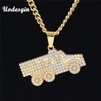 hip-hop-anhänger marke großhandel-Uodesign Hiphop MARKE Gold Crystal Truck HalskettePendant Hip Hop Schmuck Tanz Charme Franco Männer Kette Halskette