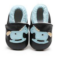 ingrosso cuoio di stampa animale genuino-Neonati maschi Bambina in vera pelle stampata animaletti primi camminatori scarpe bimba neonato bimba scarpe con suole morbide Mocassini bambino