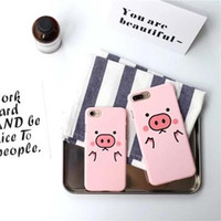 Wholesale Iphone5 Cased - piggy dull polish hard case for iPhone7 plus,protective back cover for iPhone6 6S plus,pink case for iPhone5 5S SE