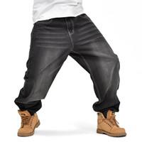 хип-хоп уличные танцевальные джинсы оптовых-2017 Mens Hip Hop Baggy Loose Black Jeans Denim Printed Jeans Skateboard Pants for Men Street Dance Trousers 30-46
