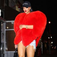 Wholesale stylish women winter coats - Wholesale-Stylish 3D Red Love Heart Shaped Cape Faux Fox Fur Thick Warm Celebrity Women Long Hairy Shaggy Coat Jacket Outerwear Winter Top