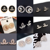 Wholesale Clip Studs - More Style Brand Letters Ear Stud Clip Earrings Crystal Enamel Ear Drop Women Bride Wedding Party Jewelry accessory