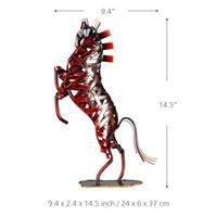 figurines artesanales metalicas al por mayor-Moderno Metal Weave Leap Horse Red Figurine Home Furnishing Ornamento Oficina Decoración Animal Arts Crafts Originalidad del regalo 88tt bb