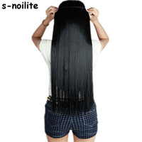 Wholesale light brown clip human hair resale online - S noilite Fall to waist CM Longest Clip in for human Hair Extensions One Piece Real Natural Thick Synthetic hair Extention