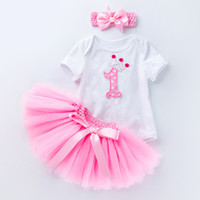 Wholesale romper birthday tutu for sale - Group buy Baby Birthday Rompers Girl TUTU Dress Romper Set Kids Lace Skirt Headband Floral Dresses for Birthday Gift Newborn Rompers Colors