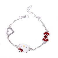 Wholesale Cute Cat Jewelry - handmade jewelry cute Hello Kitty link bracelets Sterling Silver 925 Jewelry Cat Fine Jewelry Free Shipping children bangles Wholesale