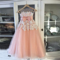 Wholesale peach tulle wedding dresses - Peach Pink Lace Tulle Flower Girls Dresses Sheer Neck Sleeveless Bow Floor Length Princess Little Kids Wedding Birthday Party Dresses