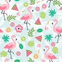 ingrosso foto dell'anguria-Sfondo di fenicottero Cartoon stampato foglie verdi Fiori rosa anguria Baby bambini ragazza festa di compleanno Photo Booth sfondo