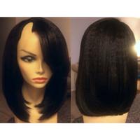 cheveux vierges brésiliens u parties de perruques achat en gros de-9A 1 * 3 Ouverture Droite Partie U Perruques Cheveux Vierges Brésiliens Courte U Partie Bob Perruque Pour Les Femmes Noires Perruque Upart Cheveux Humains