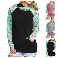 Wholesale flower outerwear jacket for sale - Group buy Double Color flower printed Hoodies Long Sleeve Patchwork Pullover Winter Women Jacket Sweatshirts Jumper Outerwear GGA125