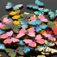 ingrosso pulsanti a forma di legno-Bella farfalla Forma Fai da te Scrapbooking Bottoni Bottoni in legno Abbigliamento per bambini Cucito nozioni Manuale Strumenti di cucito 1000 pz / lotto