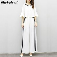Wholesale Wide Leg Chiffon Pants - 2018 New Style Women Two Pieces Sets Jumpsuit Fashion Chiffon Jumpsuits Wide leg pants Party suits