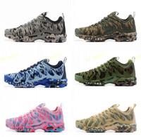 sapatos de corrida grátis rosa cinza venda por atacado-Nova marca Plus TN Ultra Verde Azul Cinza Rosa Camo Running Shoes Para Mulheres Dos Homens de Alta Qualidade Calçados Esportivos Sneakers Frete Grátis