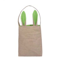 fabric eggs UK - Easter Bunny Bags Dual Layer Rabbit Ears Design Basket Jute Cloth Material Tote Bag Carrying Eggs Gifts Box for Easter PartyZI-372
