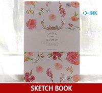 boş kitap kapağı toptan satış-80 Levhalar A5 Boş Sert Kapak Eskiz Defteri, Dizüstü Bilgisayar olarak Çizim için Çiçek Serisi Sketchbook