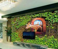 Wholesale 3d window art for wall online - Large Photo Wall paper Art Animal Wallpaper Window Mural TV Backdrop D Wallpaper Walls