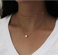 ingrosso collana di strati di strato-Collana girocollo a due strati con perline Collana con catenina O passante a cuore Argento e oro placcato