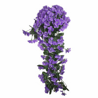 violettes bouquet großhandel-Neues violettes künstliches Blumenblumenstrauß Rattanweinlaubsprojekt weich-befestigte Wand hängende dekorative Blume der Blumenrohrleitung