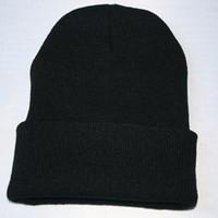 ingrosso cappelli di beanie rosa neri-Caldi cappelli invernali da donna in lana calda fatti a mano Cappelli fluo da uomo Gorro Beanie caramelle nero Navy rosa in 24 colori