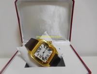 xl altın saatler toptan satış-Lüks orijinal kutusu kağıtları Mens 100 XL 2 TON 18 K SARı ALTıN OTOMATIK W20072X7 Deri kayış Mekanik Otomatik erkek Saatler